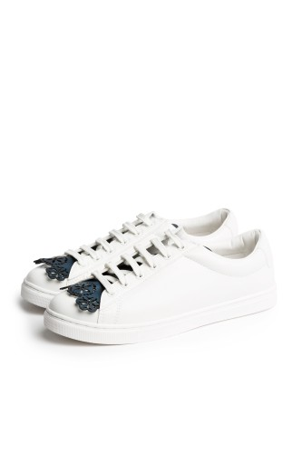 Floral Blue Fringes - Shoe Tongues